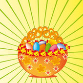 Basket with multi-coloured eggs. — Stock Vector