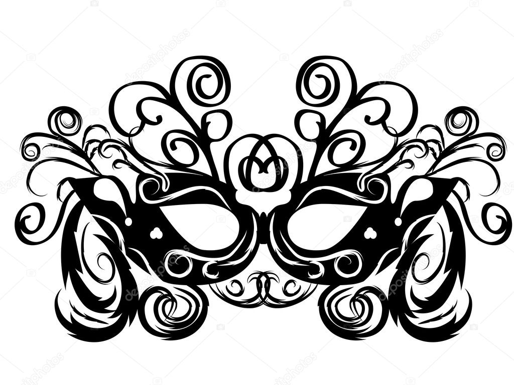 Black vector carnival masks. abctract isolated illustration — Stock Vector #8903561