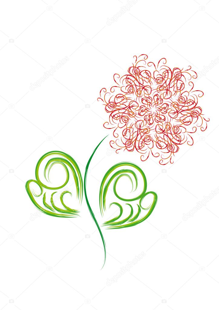 Isolated flower with hearts and butterflies — Stock Vector #8904286