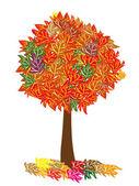 El árbol de otoño aislado — Vector de stock