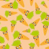 Dessin animé sans couture avec carottes animées — Vecteur