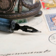 Stock Photo: Old pen and letter