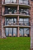 Palmeiras na frente de um hotel resort tropical em kona — Fotografia Stock