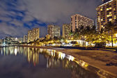 Waikiki Beach, Oahu Island Hawaii, cityscape sunset — Stock Photo