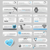 Web design template elements: Navigation buttons with ornament elements — 图库矢量图片
