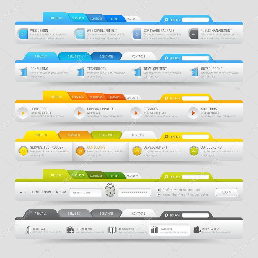 Web design template elements with icons set: Navigation menu bars ...