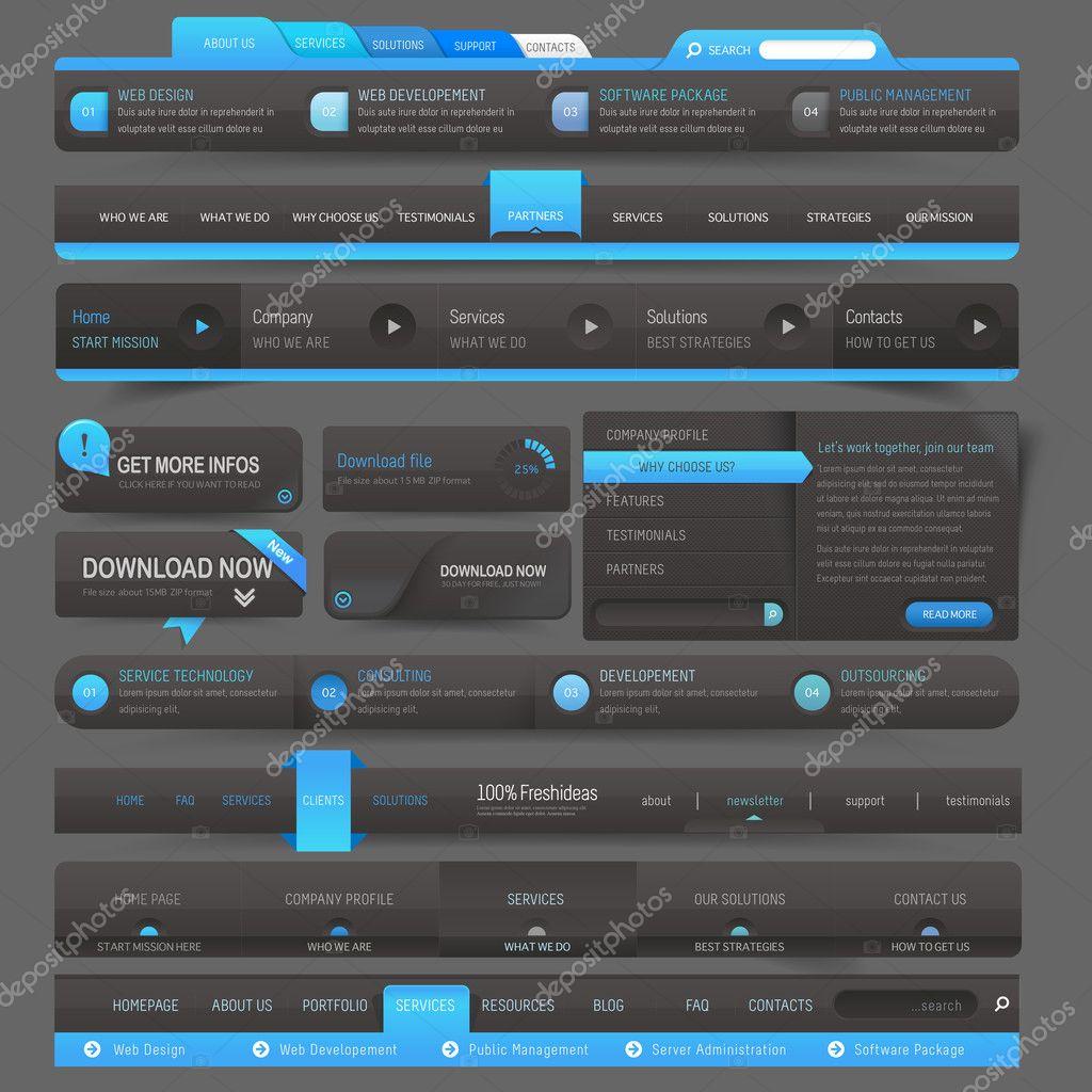 Web site design template navigation elements stock Architecture site web