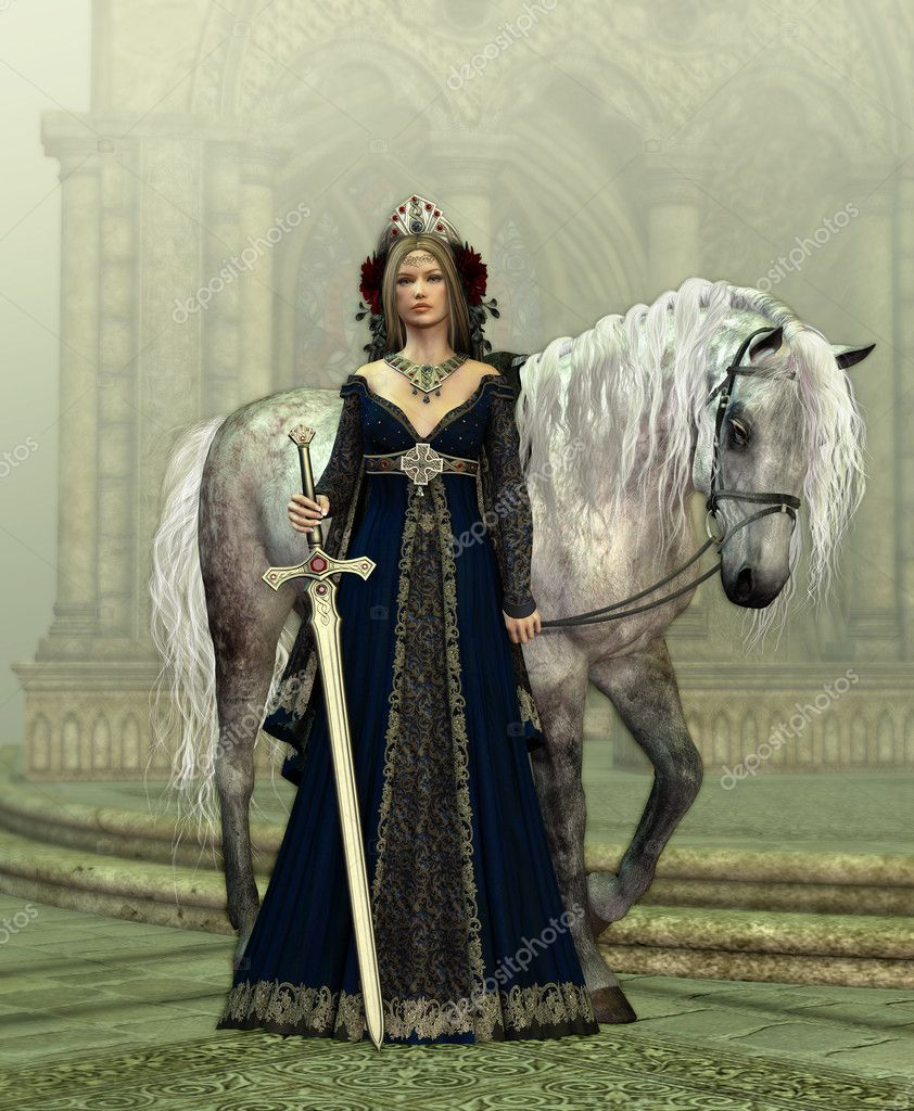 A young woman in medieval dress and a white horse — Stock Photo #10602582