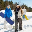 Three young snowboarders — Stock Photo