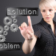 Problem solving concept - business woman touching screen — Foto Stock