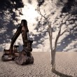 Excavator on the desert - Stock Photo