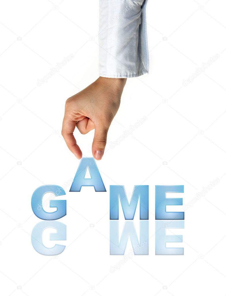 Hand and word Game - concept (isolated on white background) — Stock Photo #10360263