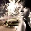 Girl with the car, urban concept — Stock Photo