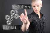 Crisis solving concept - business woman touching screen — Stock Photo