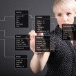 Database Table - technical concept, girl pointing screen — Stock Photo #8753157