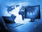 World Business Background with monitors - IT concept — Stock Photo