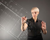 Blueprint design technical concept - girl drawing on screen — Stock Photo
