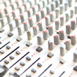 Audio mixing console closeup - music concept, studio shot - Stock Photo