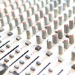 Audio mixing console closeup - music concept, studio shot — Stock Photo