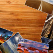 Photos on the wood desk — Foto Stock