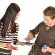 Young happy couple painting hands — Stock Photo #10029513