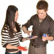 Young happy couple painting hands — Stock Photo