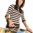 Royalty-Free Stock Photo: Female DJ, female rock star playing music