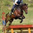 Rider in the jumping show military — Stock Photo