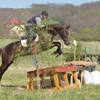 Rider eventing horse trial - Stock Photo