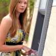 Woman at the ATM — Stock Photo