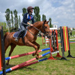 Rider in the jumping show — Stok fotoğraf
