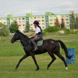 Foto Stock: Rider in jumping show