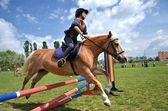 Ruiter in de jumping show — Stockfoto