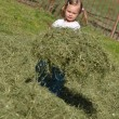 Baby girl playing with cut grass - Stock Photo