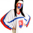 Slovakian hockey fan — Stock Photo