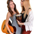 Two girls with bongo and guitare — Stock Photo