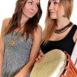 Two girls with bongo — Stock Photo #7978527
