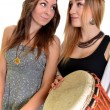 Two girls with bongo — Stock Photo