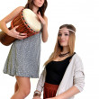 Two girls with drums — Stock Photo