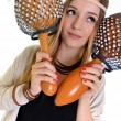 Beautiful blonde with maracas - Stock Photo