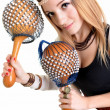Beautiful blonde with maracas — Stock Photo #7978560