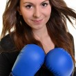 Young beautiful boxer woman — Stock Photo #8005492