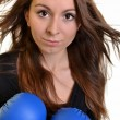 Young beautiful boxer woman — Stock Photo #8005514