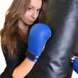 Young beautiful boxer woman — Stock Photo