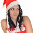 Beautiful and sexy woman wearing santa clause costume — Stock Photo #8060621