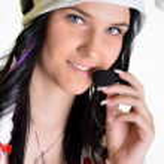 Sexy operator calling — Stock Photo