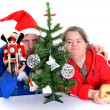 Couple with down syndrome with christmas decoration — Stock Photo