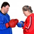 Stock Photo: Couple boxer with down syndrome