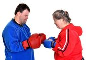Couple boxer with down syndrome — Stock Photo