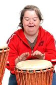 Down syndrome with djembe — Stock Photo